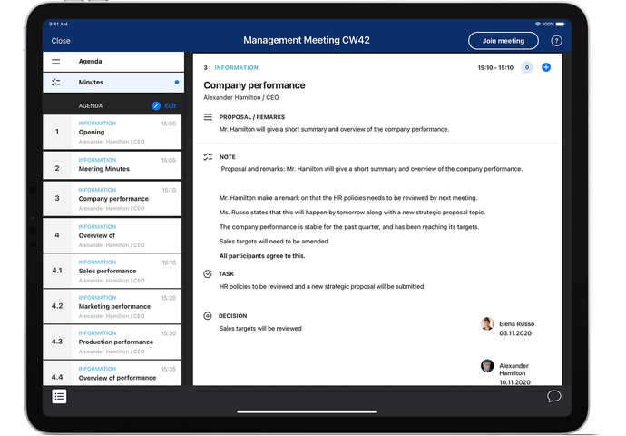 Sherpany meeting software - meeting minutes